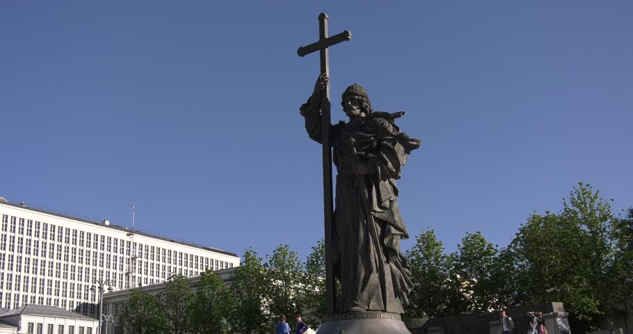 4K video footage view of Vladimir The Great Monument taken on 24 June 2017 in center of Moscow city near Red Square and Kremlin on sunny summer morning in central Russia | Shutterstock HD Video #28288192