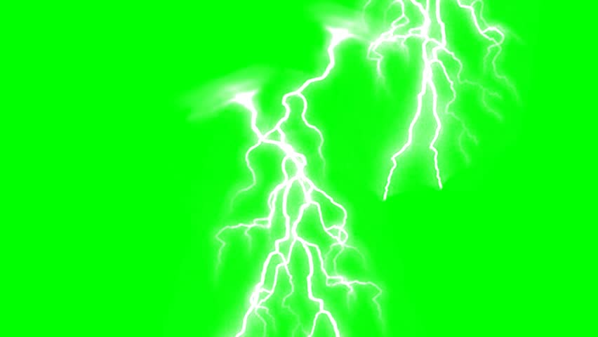 Lighting strikes on green screen background animation. Thunderstorm footage video. #28290802