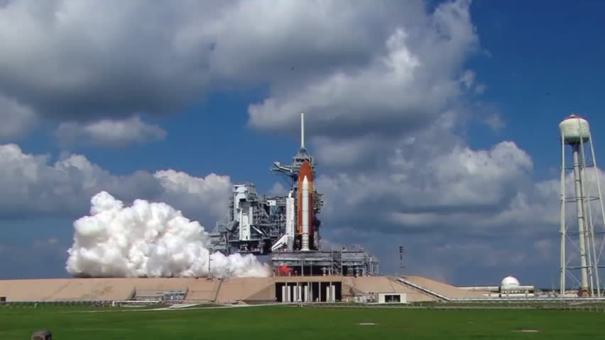 2010s: The Space Shuttle lifts off from the launch pad.