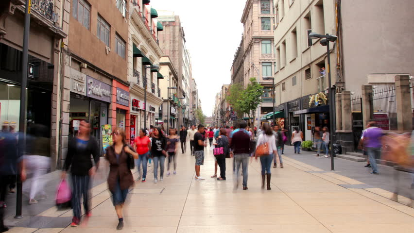 Hyperlapse Madero street downtown Mexico City. People walking in Madero street one of the most representative streets in Mexico. #28297072