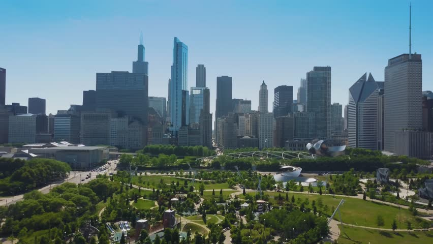 Aerial video of Chicago, during the sanny day. millenium park