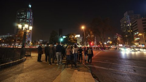 07-05-2017 Santiago de Chile. Timelapse 4K High Quality of People moving in the streets of Bellavista, Santiago de Chile. Movistar tower background.