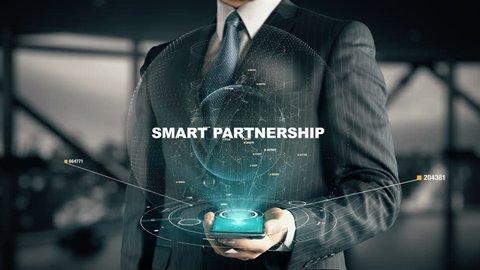 Businessman with Smart Partnership hologram concept