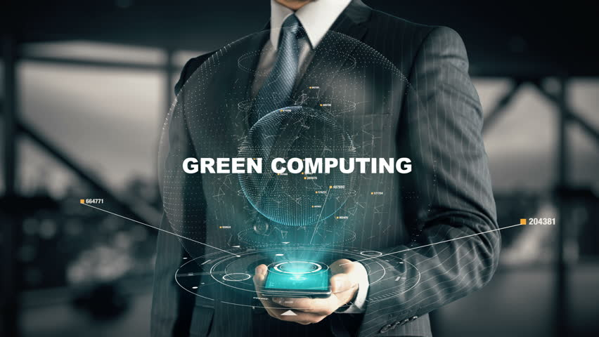 Businessman with Green Computing hologram concept