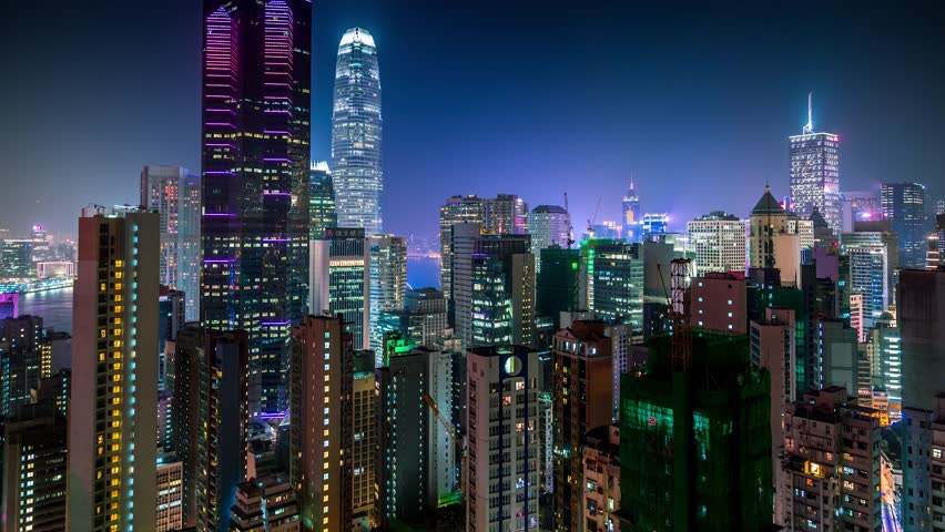 Hong Kong aerial Night view City roofs 4K