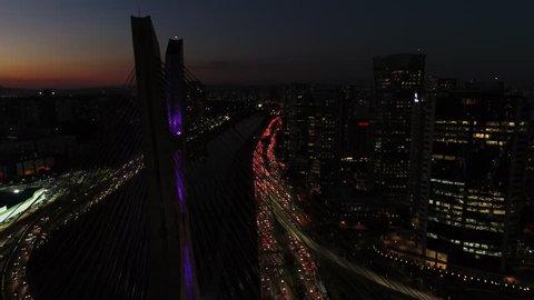 Aerial View of Estaiada Bridge in a Beautiful Evening Hour in Sao Paulo, Brazil