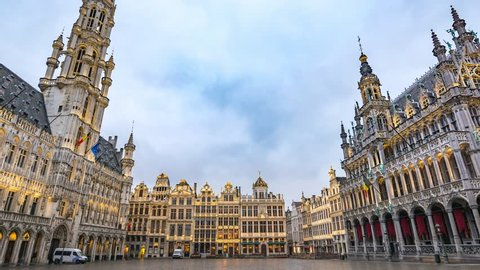 Brussels city skyline timelapse at Grand Place, Brussels, Belgium, 4K Time lapse