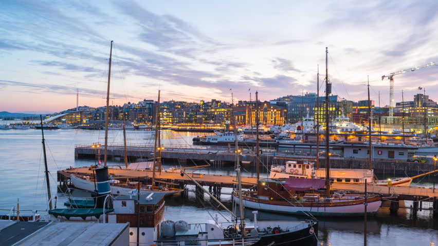 Oslo city skyline, Timelapse video of Oslo port in Norway, Time lapse 4k