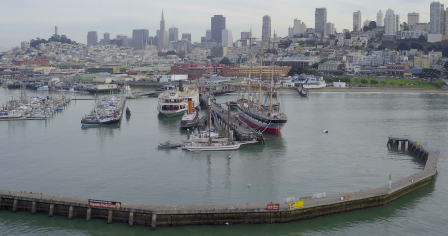 Aerial drone of the san francisco skyline from fishermans wharf