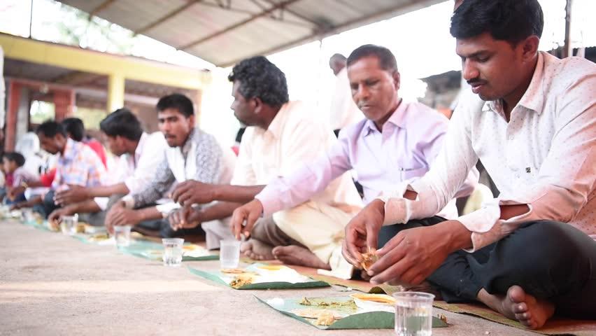 SALUNKWADI, INDIA \xD0 November 15, 2016: Community lunch in rural village Salunkwadi, Ambajogai, Beed, Maharashtra, India, South East Asia. | Shutterstock HD Video #28436950