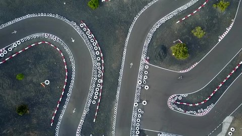 Aerial view of Go Kart circuit with motorbikes.