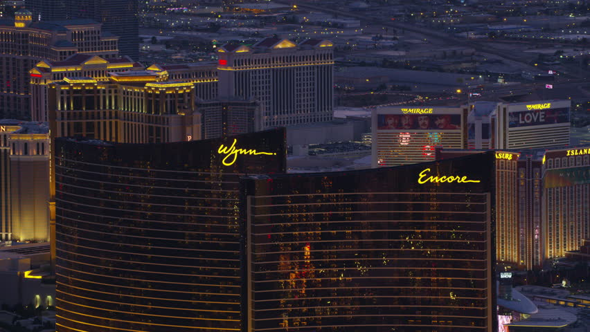 Las Vegas, Nevada circa-2017, Aerial view of Encore, Wynn and Las Vegas Strip. Shot with Cineflex and RED Epic-W Helium.