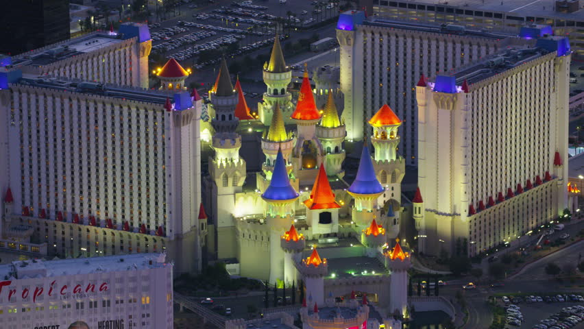 Las Vegas, Nevada circa-2017, Aerial view of Excalibur hotel. Shot with Cineflex and RED Epic-W Helium.
