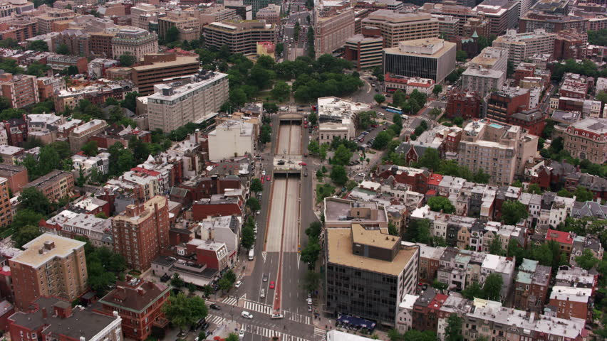 Washington, D.C. circa-2017, Flying up Connecticut Ave. over Dupont Circle to White House. Shot with Cineflex and RED Epic-W Helium.