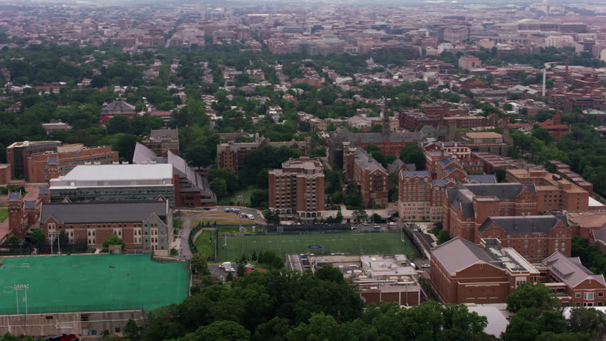 Washington, D.C. circa-2017, Aerial view of Georgetown University. Shot with Cineflex and RED Epic-W Helium.