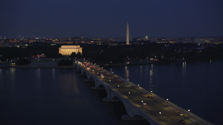 Washington, D.C. circa-2017, Flying over Potomac River with Arlington Memorial Bridge leading to Lincoln Memorial. Shot with Cineflex and RED Epic-W Helium.