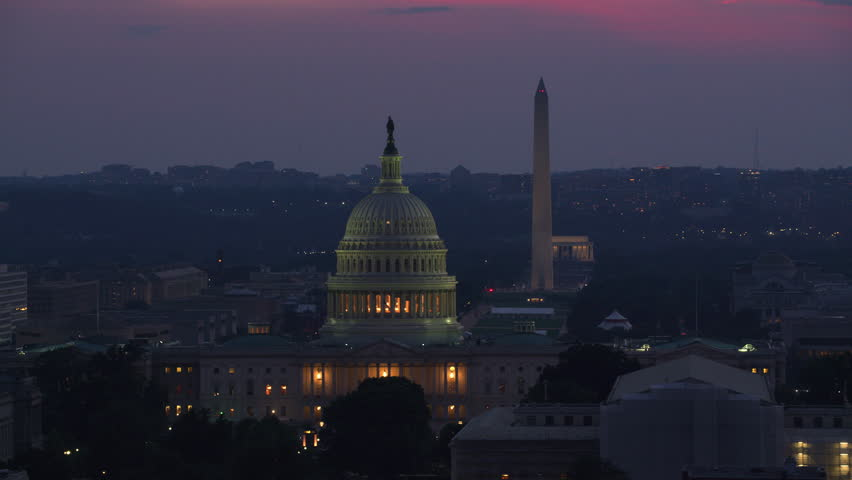 Washington, D.C. circa-2017, Aerial view of US Capitol Building at dusk. Shot with Cineflex and RED Epic-W Helium.