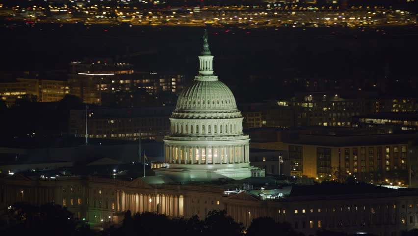 Washington, D.C. circa-2017, Aerial view of the United States Capitol building at night. Shot with Cineflex and RED Epic-W Helium. | Shutterstock HD Video #28498822