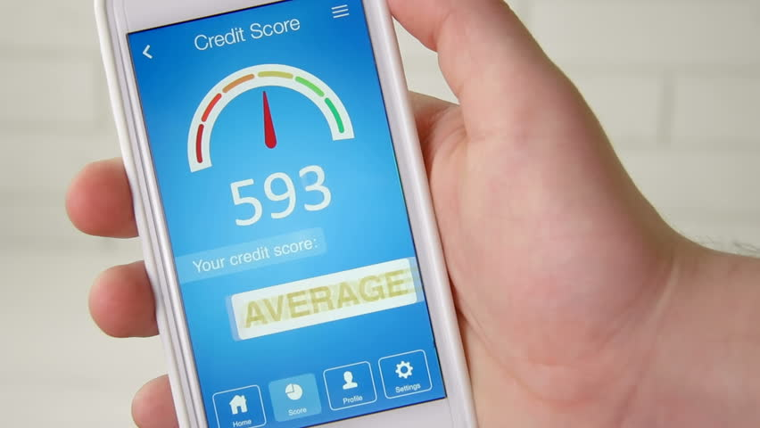 Checking credit score on smartphone using application. The result is AVERAGE | Shutterstock HD Video #28549732