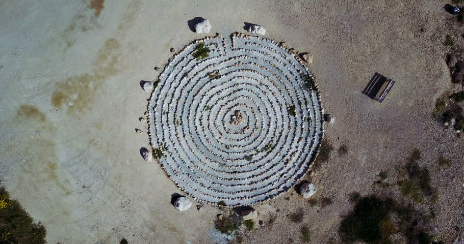 Figure of a circle from stone made on the ground. Drone Point of View | Shutterstock HD Video #28563562