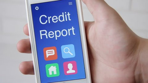 Credit Report concept application on the smartphone. Man uses mobile app.