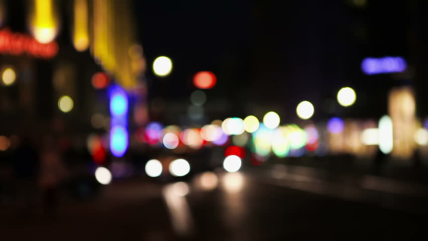 Defocused City And Traffic Lights At Night In Berlin Germany Stock Footage Video 2856712