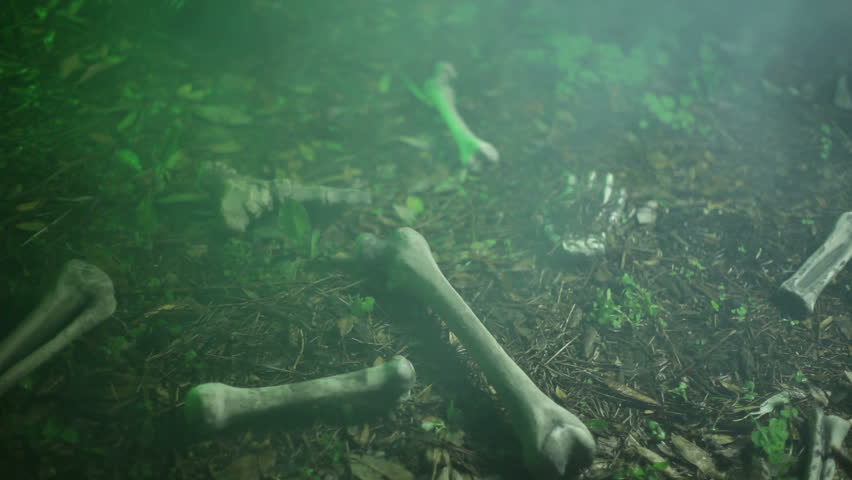 human skeletal remains and green fog stock footage video 2858653, Skeleton
