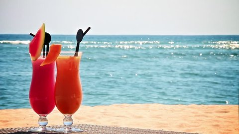 Two cocktails on the beach