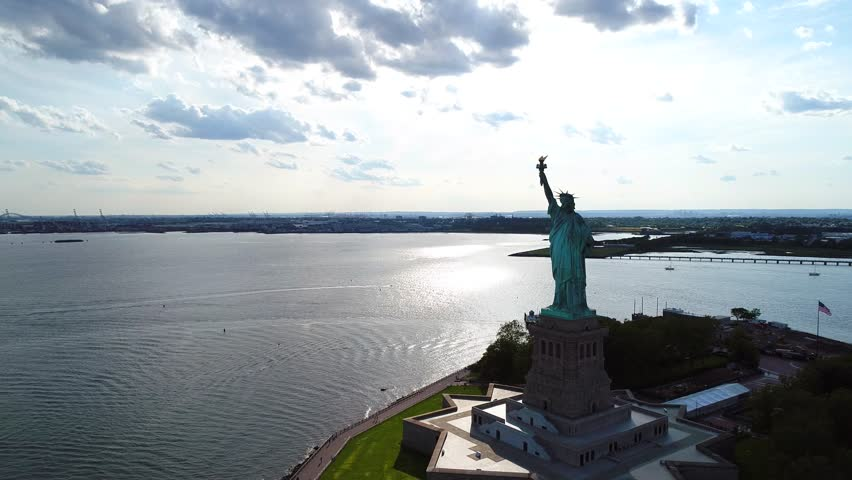Aerial approach Statue of Liberty NYC 4k 60p