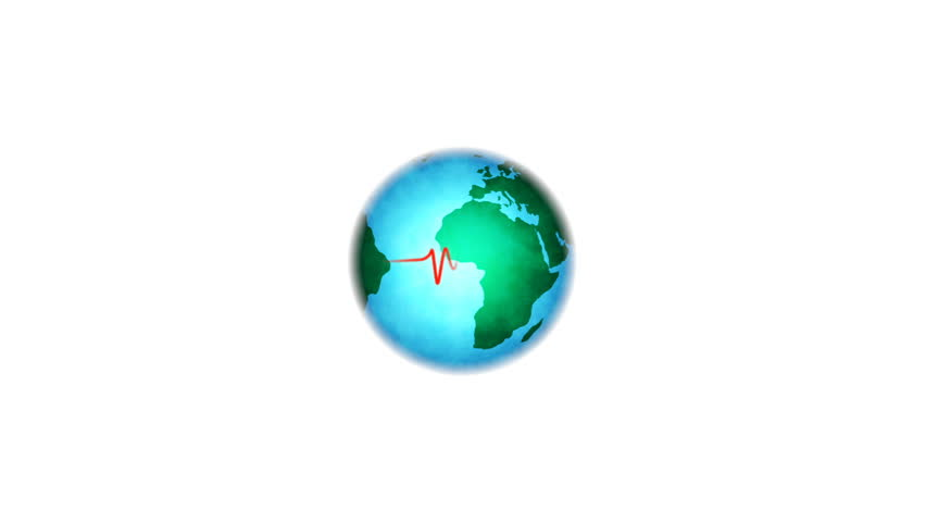 Loop motion graphics video of globe turning, with heart monitor pulse (map referenced from NASA)
