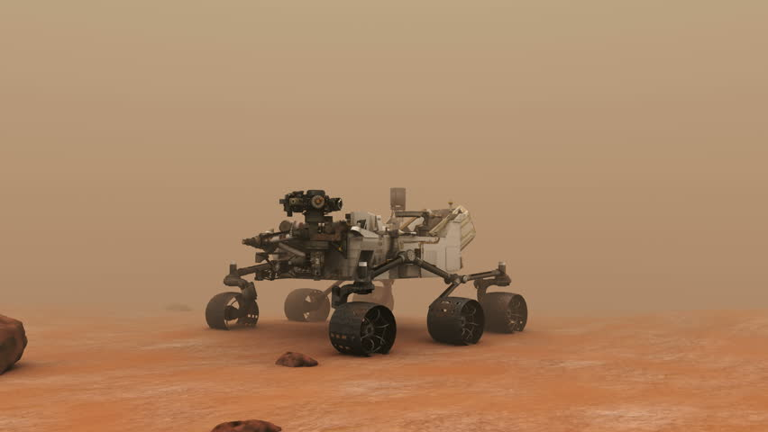 Mars Rover on the Dusty Red Plane.  A highly-detailed accurate 3D animation of the mars rover Curiosity on the red planet, Mars.