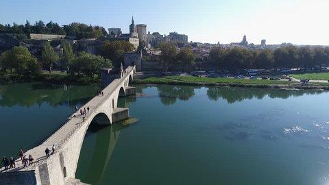 AVIGNON - FRANCE - NOV 2016 - DRONE SHOT - FONT TRAVELLING FROM THE SAINT- BENEZET BRIDGE