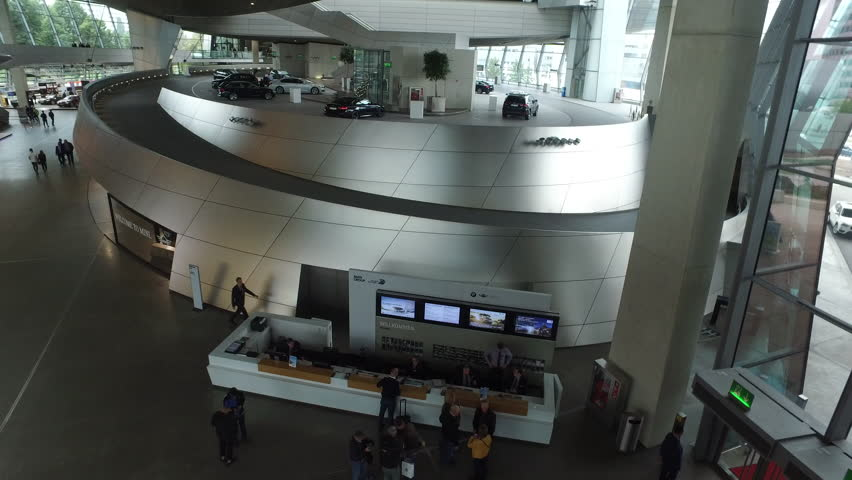 Munich, Germany-2010s: Establishing shot of the interior of BMW headquarters in Munich, Germany.   Shutterstock HD Video #28673857