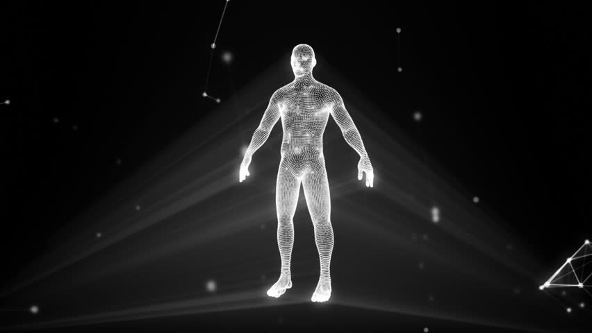 Human hologram in a cloud of compounds
