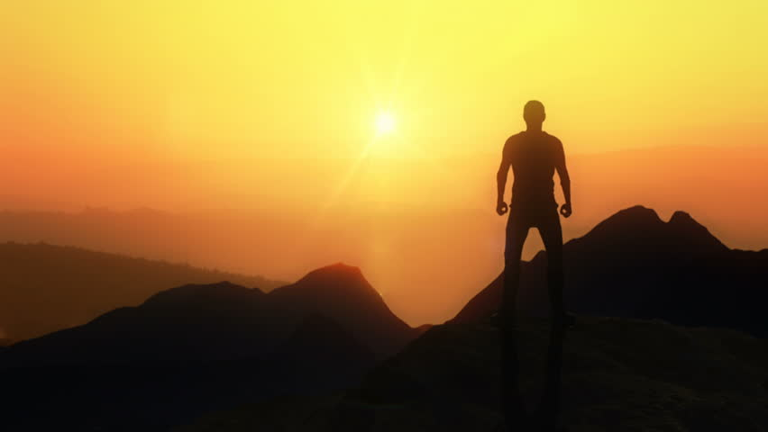 Animated CGI silhouette in a victory pose on the peak of a mountain. 4K animation. #28699492