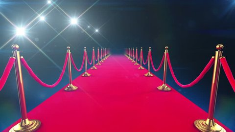 Red Carpet Event. Beautiful Looped Animation of a walk down and paparazzi camera flashes. Alpha channel. HD 1080.