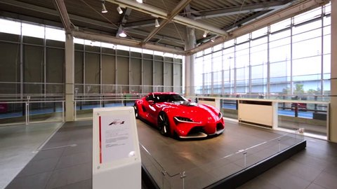 TOKYO, JAPAN - DECEMBER 14, 2016: View of amazing luxurious red super car Toyota F1 in Theme park Toyota Mega Web where tourists can ride, see, and feel Toyota's new models and technology