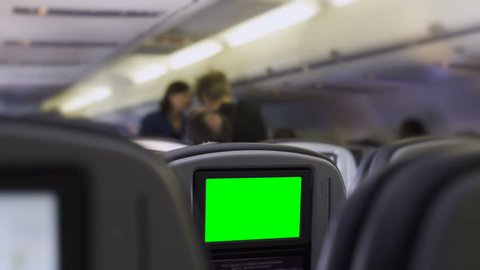 In flight Entertainment, green screen seat mounted monitor
