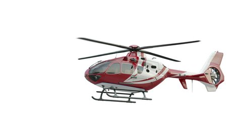 Medical Eurocopter soars in the air and flies away.