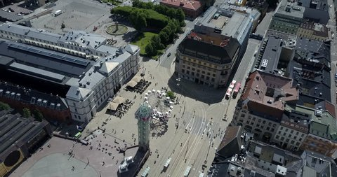 Wide angle aerial of Oslo Norway downtown central station tourism
