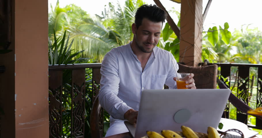Happy Smiling Man Using Laptop On Terrace, Casual Businessman Working On Computer Typing Outdoors Slow Motion 60 | Shutterstock HD Video #28758742