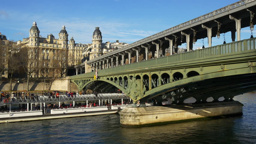 sunny day paris city traffic old seine river bridge panorama 4k france #28763485