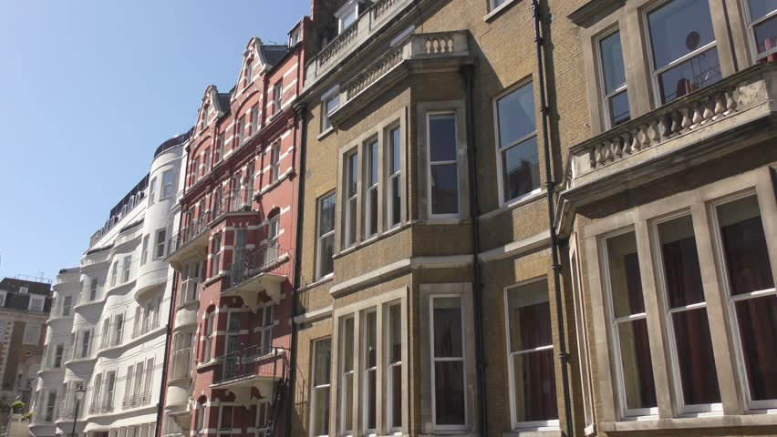nyc apartment buildings. Colorful old houses  4K stock video clip NYC Apartment Buildings On Upper West Side Stock Footage Video