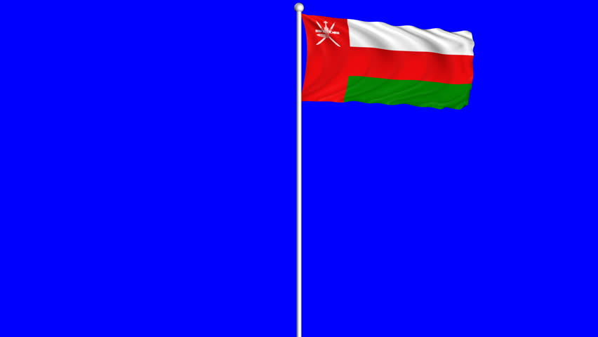 Oman Flag Waving and Fluttering on Wind Loopable Animation Green Blue Screen Alpha Matte Channel
