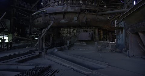 Pittsburgh, Pennsylvania - June 10, 2017: The main blast iron furnace inside the now abandoned Carrie Furnace, which shut down in 1978. It was added to the National Historic Landmark registry in 2006