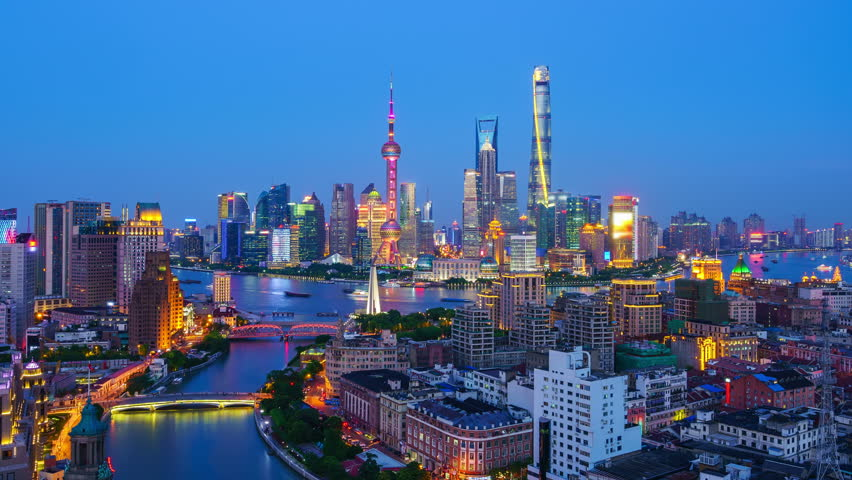 """Shanghai skyline and Huang-pu River viewed from skyscraper. Zoom in Time lapse. - Original Size 4k (4096x2304). - >>> Please search similar: """" ShanghaiSkyline """" .  
