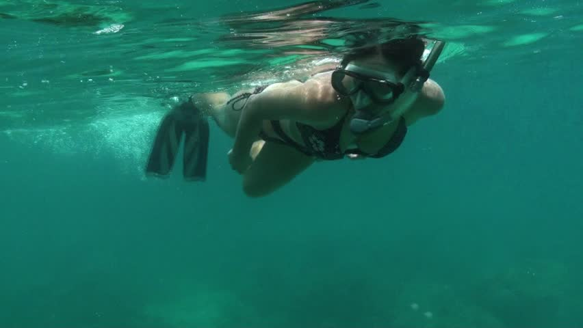An attractive young female snorkels around the great barrier reef.
