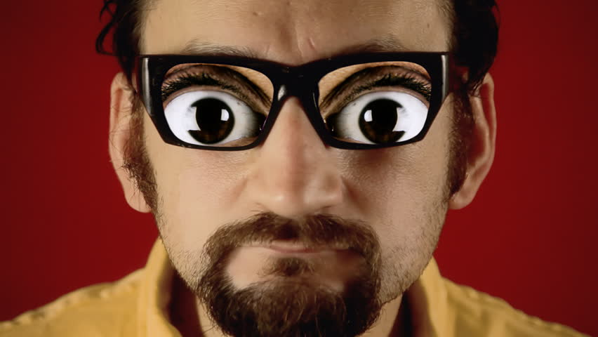 A funny ugly man with hypnotic glasses, showing big nervous eyes. Weirdness, surreal, dream.