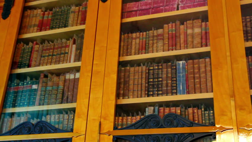 bookshelves with old books