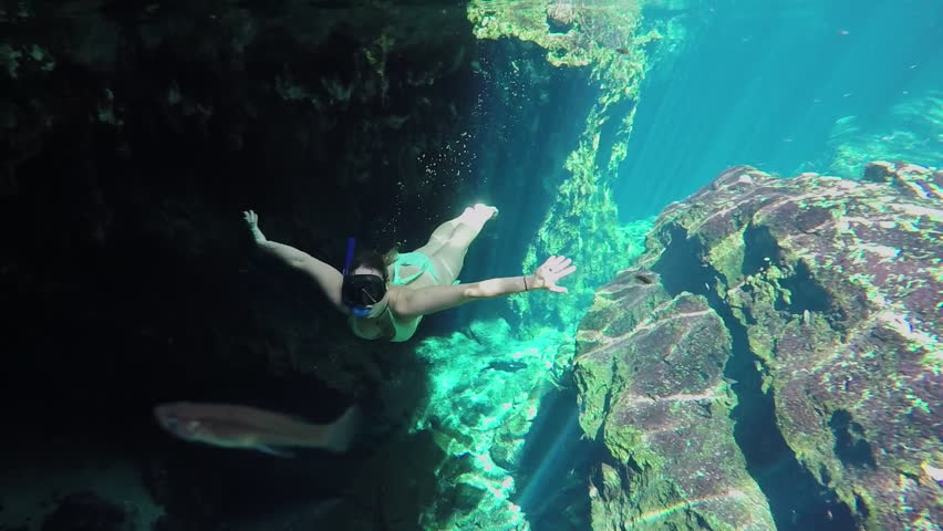 Underwater, Slow Motion Young Woman Stock Footage Video -9137